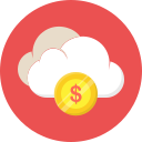 cloud, coin, dollar, finance, money icon