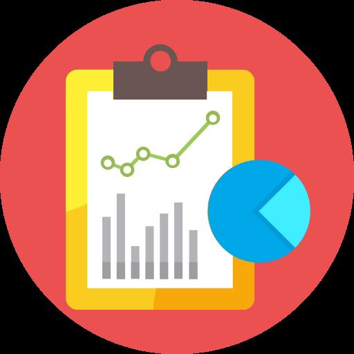 clip board, graph, pie chart, report icon