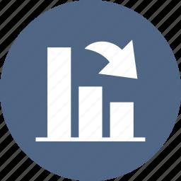 bar graph, chart, decrease, down, stocks icon