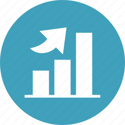 bar graph, chart, growth, increase, revenue, stocks, up icon