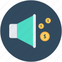 bullhorn, financial announcement, loud hailer, megaphone, speaking-trumpet icon