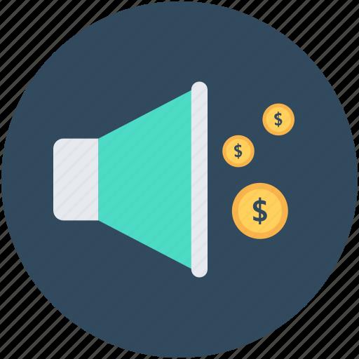 bullhorn, financial announcement, loud hailer, megaphone, speaking-trumpet icon