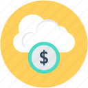 cloud banking, cloud computing, dollar, e banking, e commerce icon
