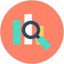 analytics, magnifier, magnifying lens, search infographic, searching graph icon