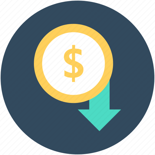 devaluation, dollar, dollar valuation, down arrow, loss icon