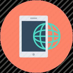 cellphone, globe, mobile, mobile internet, smartphone icon