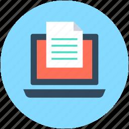 document, e docs, laptop, online document, paper icon