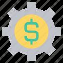 business, cogwheel, dollar, finance, gear, setting, setup icon