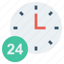 24 hours, clock, finance, marketing, service, time icon