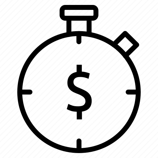 dollar, finance, hours, payment, productivity, time icon