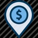 atm, bank, location icon