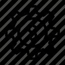 cash, dollar, finance, gear, setting icon