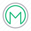 coins, crypt, currency, finance, monero icon