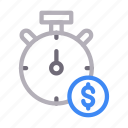 clock, dollar, money, stopwatch, time icon