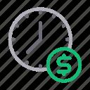 clock, dollar, money, saving, time icon
