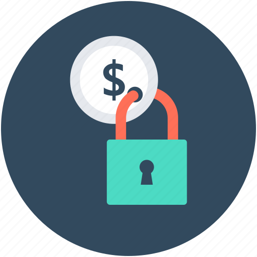 currency protected, dollar security, lock, money locked, money protection icon