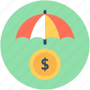 banking, insurance, parasol, protection, umbrella icon