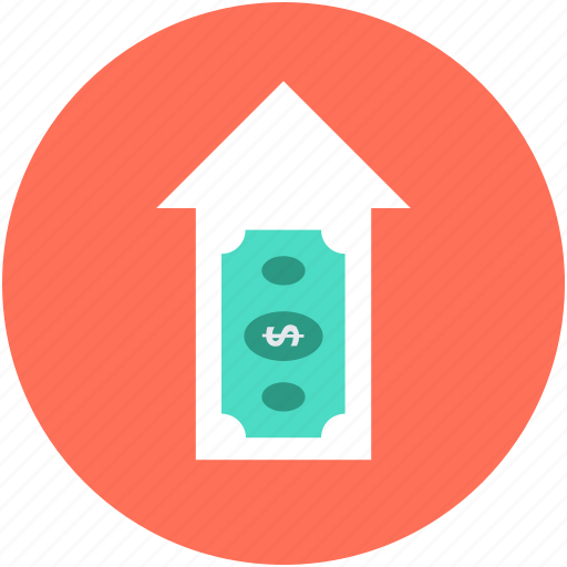 dollar, dollar value, income, profit, up arrow icon