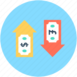 currency exchange, dollar, money conversion, money exchange, pound icon