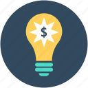 bulb, business creativity, business idea, idea, innovation icon