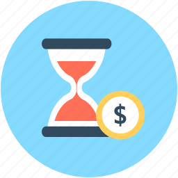 dollar, hourglass, time importance, time is money, wait icon