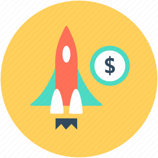 business launch, business startup, dollar, new business, rocket icon