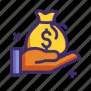 bag, finance, hand, money