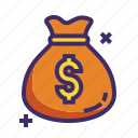 bag, cash, dollar, money