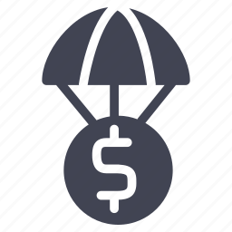cash, currency, dollar, finance, financial, money, parachute icon