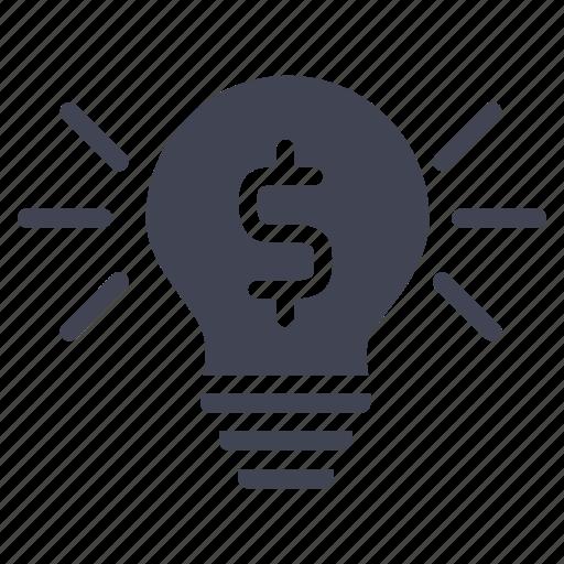 cash, currency, dollar, finance, illuminated, lightbulb icon