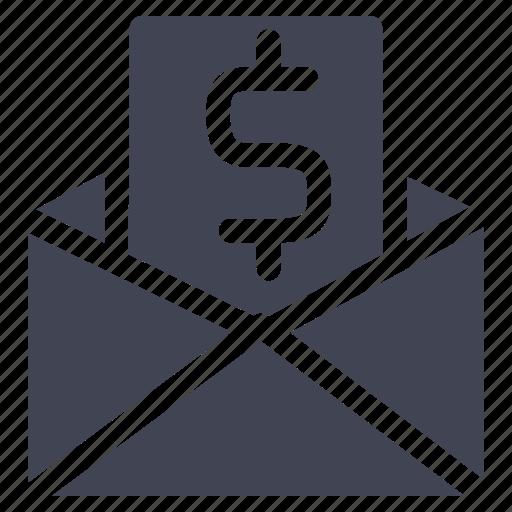dollar, envelope, finance, letter, message, money icon
