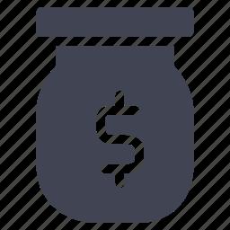 currency, dollar, finance, financial, jar, money icon