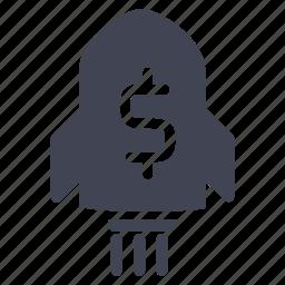 dollar, finance, financial, money, rocket icon