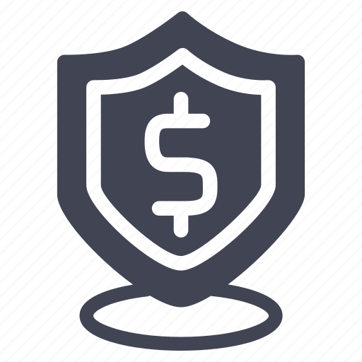 dollar, finance, money, payment, security, shield icon