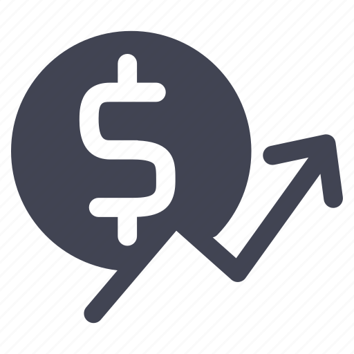 currency, dollar, finance, money, rising, statistics icon