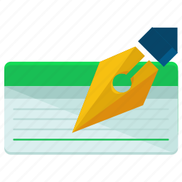 cheque, finance, financial, pen, sign, signature, writing icon