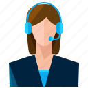 customer, finance, financial, headphone, service, woman icon
