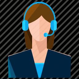 avatar, customer, headphone, service, woman icon