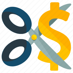 cutting, dollar, finance, prices, scissor icon
