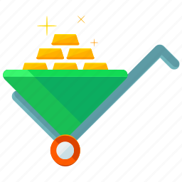 bricks, finance, financial, gold, large, wheelbarrow icon