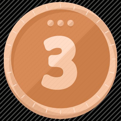 bronze, coin, finance, money icon