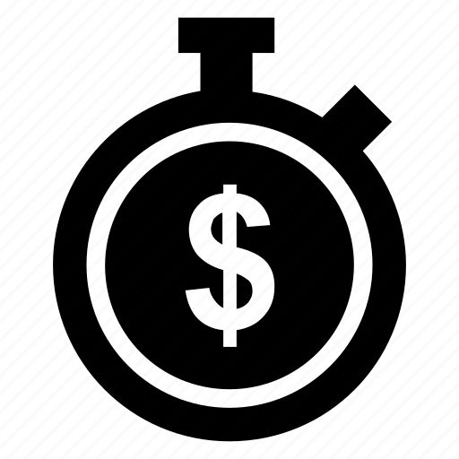 chronometer, dollar, money, stopwatch icon icon