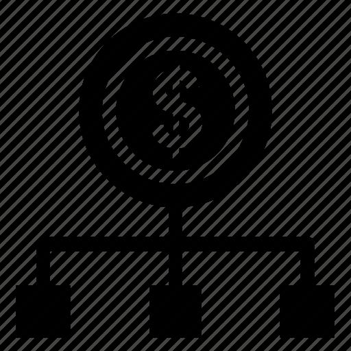 bank, cash flow, cashout, diagram, financial chart, network, scheme icon icon