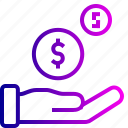 analytics, coin, dollar, finance, hand, money icon