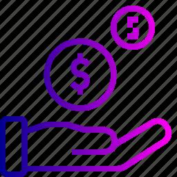 analytics, coin, dollar, finance, hand, money icon