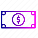 banknote, cash, dollar, finance, financial, money, revenue icon