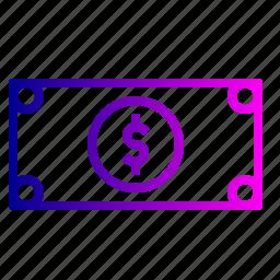banknote, cash, dollar, finance, financial, money, revenue icon