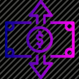 cash, dollar, finance, income, money, note, outcome icon