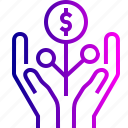 care, dollar, guardar, hand, healthcare, money, save, tree icon