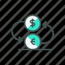 exchange, finance, flat, money, outline, vector icon